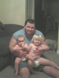 Picture of Chubbs with 2 of his duaghters